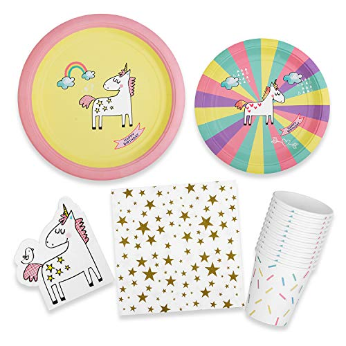 Breeze Luncheon Napkins - Unicorn Party Supplies - Creative Girls Birthday Theme Decoration Set | 8 Guests | Includes Dinner & Dessert Plates, Napkins and Cups