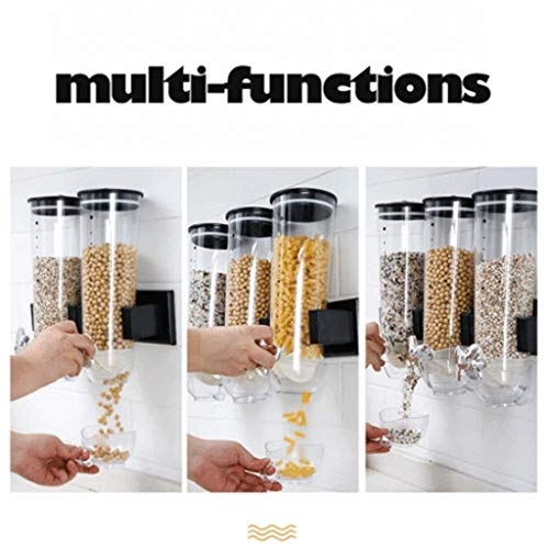 m·kvfa Cereal Dispenser, Single Dry Food Snack Grain Canister Plastic Storage for Home, Kitchen, Countertops, Breakfast, Pets, Cat Food, Dog Food, Candy, Pantry (Gray)