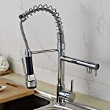 Rozinsanitary Luxury Polished Chrome Brass Kitchen Faucet Dual Spouts Swivel Sprayer Mixer Tap
