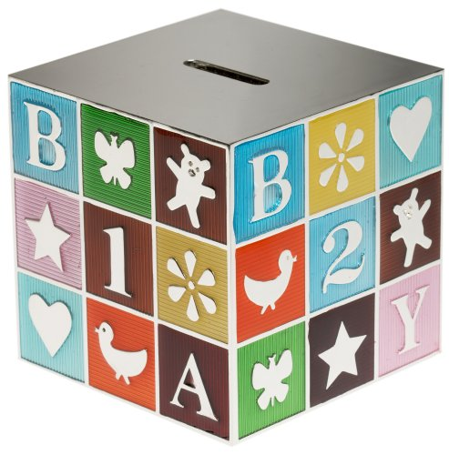 - Godinger Colored Silver Plated Block Baby Bank