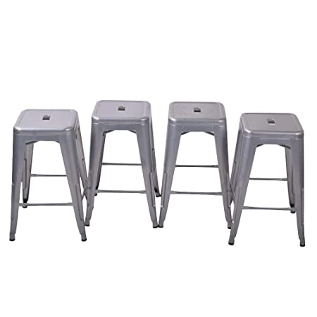 HAOBO Home 26 Backless Metal Counter Stool Height Barstools Set of 4 for Indoor Outdoor Bar Stools, Silver