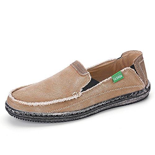 Men Casual Flat Shoes (BEFAiR Men's Canvas Slip On Shoes Flats Khaki 10.5 M US)