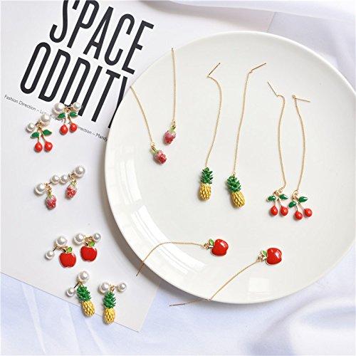 (Ruirui sauce popular series fruit pineapple earrings cute earrings wild earrings earrings women girls long section)