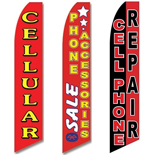 3 Swooper Flags Cellphone Repair Shop OPEN Phone Accessories SALE Cellular