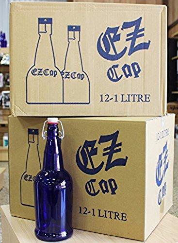 Cobalt Blue Glass Beer Bottles 2PK product image