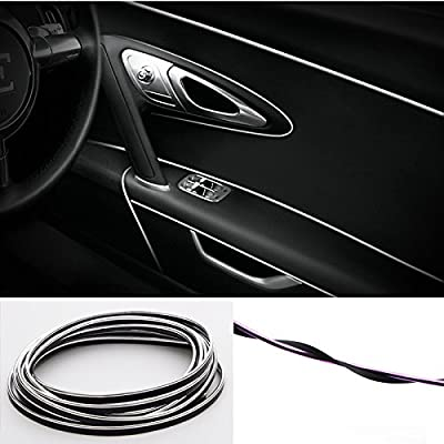 YIJINSHENG Car Interior DIY Automobile Motor Exterior Decoration Moulding Trim Strip line Sticker Insert Type Air Outlet Dashboard Decoration 3D Strip 8 Meters Car Styling Molding(Silver): Automotive