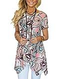 MIROL Womens Summer Short Sleeve Floral Print Irregular Hem Asymmetrical Loose Fit Tunic Tops, Pink, X-Large
