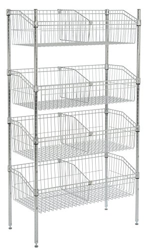 Wire Basket Shelving (Nexel WB24486C Basket Shelving Unit with 4 wire baskets, 48