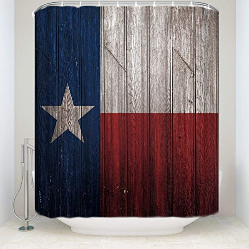Texas Flag Lone Star Fabric Shower Curtain Country Rustic Vintage Wood Board Decoration Collections Decor, Waterproof Fabric Bathroom Accessories Set with Rings