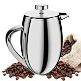 TAOindustry French Press Coffee Maker Double Wall Stainless Steel - Heat Resistant Columbia 8-Cup 1 Liter + FREE Bonuses