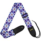 Dulphee Guitar Strap, Hootenanny Pattern Polyester Fiber Shoulder Strap with PU Leather Ends and Adjustable Design for Bass, Electric & Acoustic Guitar