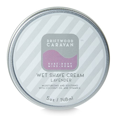 Driftwood Caravan Shave Cream (Lavender Fragrance) - All Natural - Moisturizing Lather - With Coconut Oil and Vitamin E - 5 Ounce