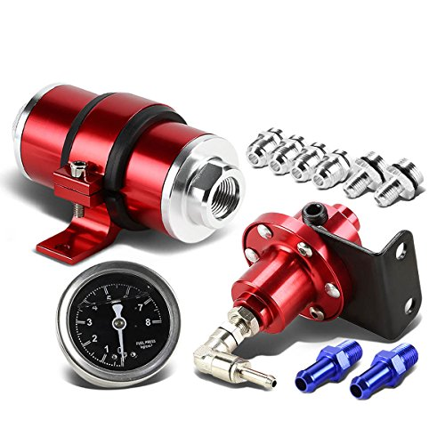 Hot 160psi Fuel Pressure Regulator+Oil Filled Gauge+Inline Fuel/Petrol Filter (Red)