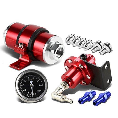 160psi Fuel Pressure Regulator+Oil Filled Gauge+Inline Fuel/Petrol Filter (Red)