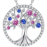 The Tree of Life Jewelry October Birthstone Created Pink Tourmaline Necklace Birthday Gift For Her Sterling Silver