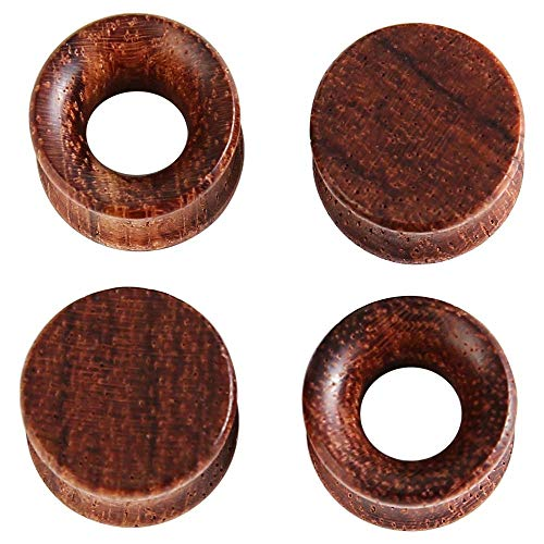 HuayoRong 2Pair Natural Brown Wood Ear Plugs and Tunnels Stretcher Gauges ()