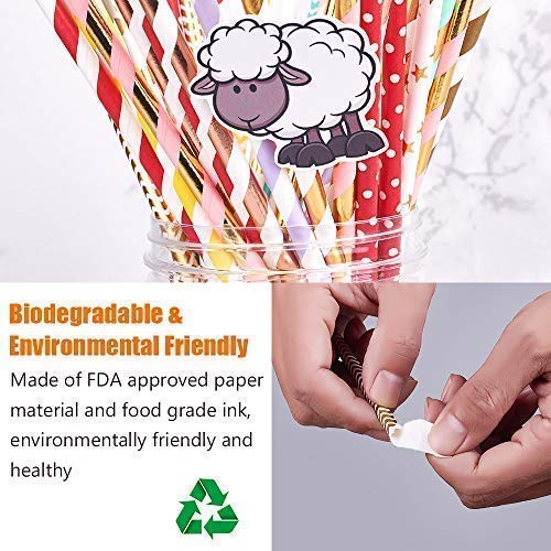 con 10 Pegatinas de Animales HENSHOW Pajitas de Papel Biodegradables 200Piezas de Pajitas Decorativas con Forma de Arco Iris para Ni/ños//Fiestas de Cumplea/ños//Bodas//Vacaciones de Navidad