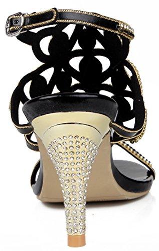 Black Show Sandals Cone Dress Party d Heel Bride Micro Bridesmaid Womens L019 Wedding Fiber Abby Unique Oqw0fF6R