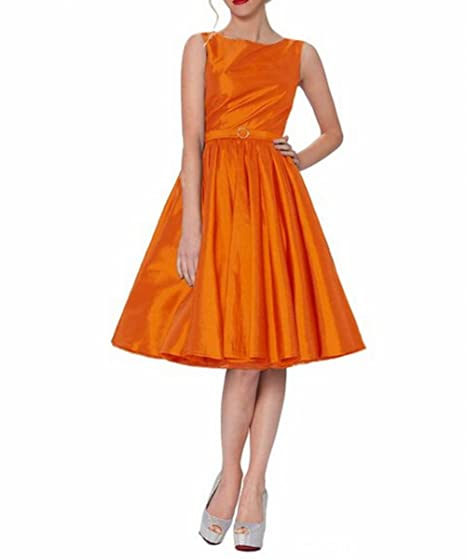 Leader of the Beauty Classy Audrey Hepburn Style Vintage Classic Prom Dress Orange UK 8