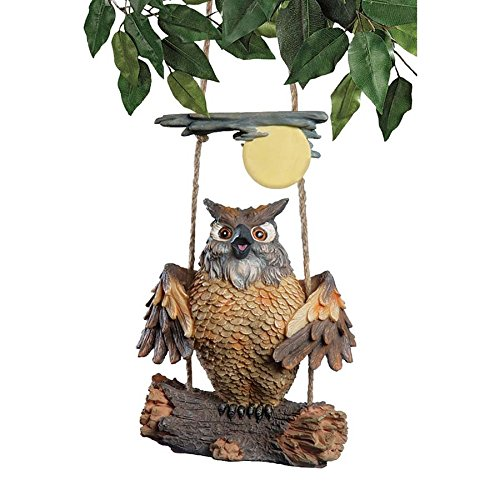 Hanging Owl (Owl Decor - Howie the Hoot Owl Swinging Sculpture - Night Owl Gifts - Owl Moon)