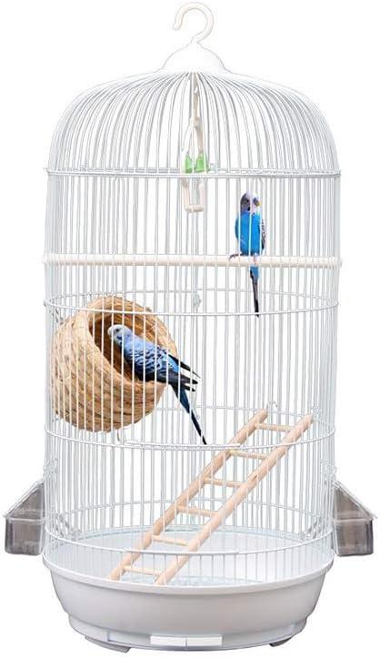 Las jaulas de la ventana de visualización de su casa for mascotas, jaulas Balcón Laboratorio Ronda Birdcages metal loro for cotorras, Cotorras jaula (Color: Blanco, Tamaño: 33,5 * 33,5 * los 71CM) zha