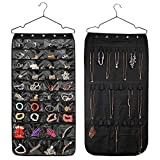 jewelry bag organizer - HUSTON LOWELL Hanging Jewelry Organizer Double Sided 40 Pockets & 20 Magic Tape Hook Storage Bag Closet Storage for Earrings Necklace Bracelet Ring Display Pouch (Black)