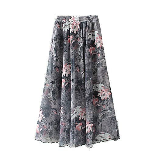Eleter Girl's Chiffon Skirt Long Skirt Fit S-M (Grey1)