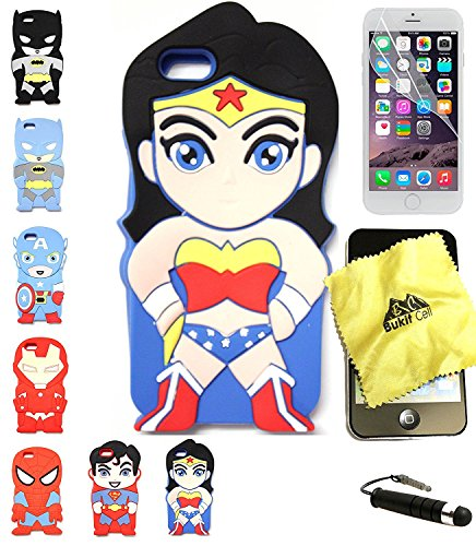 Bukit Cell 3D Superhero Case Bundle 3 Items: Wonder Woman Cute Cartoon Soft Silicone Case for 7 ( Not for 7 plus ) , Screen Protector + Bukit cell Metallic Stylus Pen + Cleaning Cloth