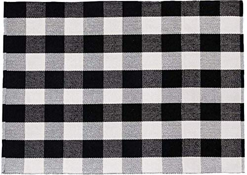 SHACOS Buffalo Black White Plaid Rug 59 x79 Large Cotton Woven Throw Rug Machine Washable 5 x6 7