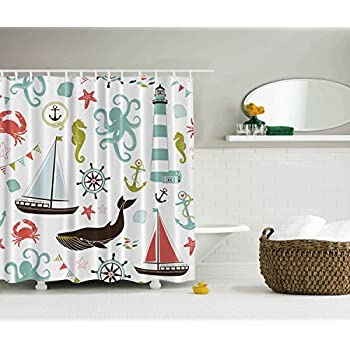 Amazon.com: Ambesonne Nautical Shower Curtain, Pastel ... on living room with wall paint designs, nautical interior design, nautical doors, nautical hardware, nautical decoration, nautical photography, nautical quotes, nautical terms, nautical style, nautical life, nautical home, nautical decor office, nautical landscape design, nautical cabinets, nautical graphics, nautical showers, nautical garden, nautical mirrors, nautical theme, nautical fashion,