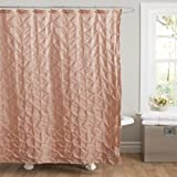 Lush Decor Lake Como Shower Curtain, 72 by 72-Inch, Peach