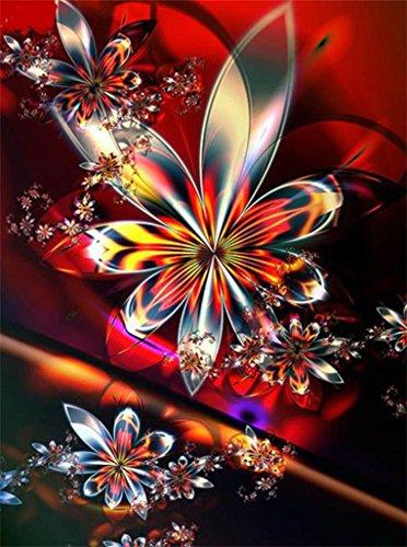 DIY 5D Diamond Painting, Staron Full Drill DIY Diamond Embroidery Rhinestone Painting Cross Stitch Kit Wall Art Decor 5D Diamond Painting by Number Kits Home Decor, Mandala (Colorful Flowers)