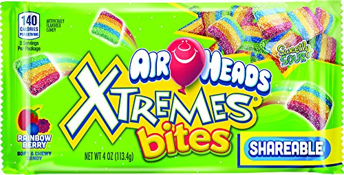 AirHeads Xtremes Rainbow Berry Bites, Non Melting, 4 Ounce (Pack of 18) -