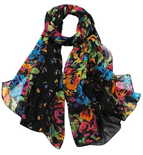 Aven Women Classy Cotton Voile Print Colorful Flowers Long Scarf Shawl Wrap Color (Print Long Scarf)