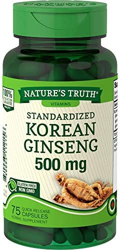Korean Ginseng Capsules 500mg 75 Count Standardized Extract from Ginseng Root Non-GMO, Gluten Free Supplement by Nature s Truth