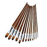 Kangnice 13Pcs Artist Paint Brush Set Nylon Hair Watercolor Oil Painting Acrylic Drawing