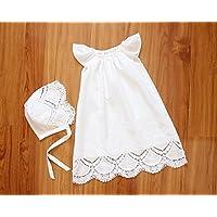 SALE Handmade Capped Sleeves Baby Girl Christening Gown & Bonnet Baptism Dress Christening Dress Blessing Dress Baptism Gown Baptismal Gown
