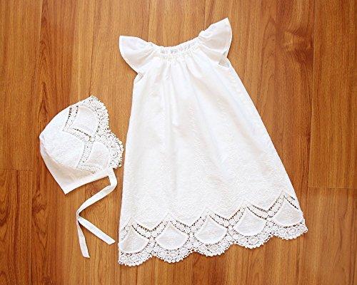 SALE Handmade Capped Sleeves Baby Girl Christening Gown & Bonnet Baptism Dress Christening Dress Blessing Dress Baptism Gown Baptismal Gown]()
