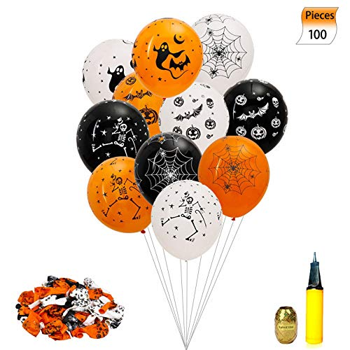 Sorive Halloween Balloons Decorations - 100 Pieces 12 Inches Pumpkin Bat Specter Spider Web Latex Balloons with a Air Pump for Halloween Party Supplies]()