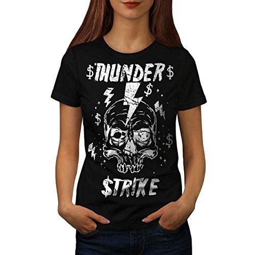 [Skull Thunder Strike Lightning Women XL T-shirt | Wellcoda] (Thunder Lightning Costume)