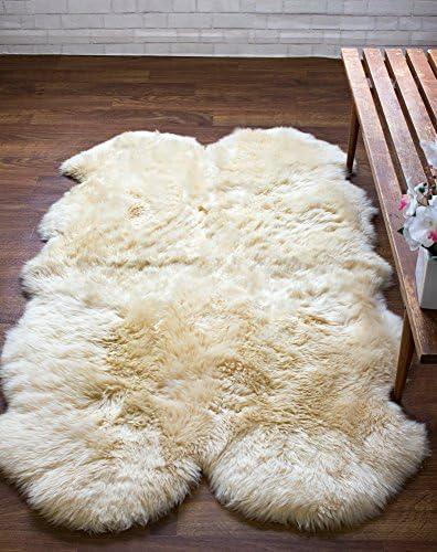 Super Area Rugs Genuine Large Sheepskin Rug 4X6 Fluffy Soft Area Rug