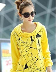 CU@EY Women's Party/Cocktail / Plus Size Simple / Street chic Long Hoodies,Geometric White / Yellow Round Neck Long Sleeve Cotton Fall Medium , white , xl