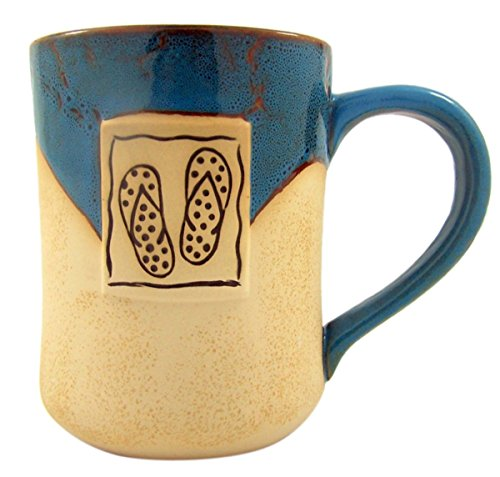 Beach Days Flip Flops Tall Ceramic Pottery Style Coffee Mug, 16 oz ()