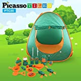 kids camp stove - PicassoTiles PTC20 20 Piece Camping Gear Tools Adventure Set including Walkie Talkie, Camping Tent, Binoculars, Watch, Thermometer, Compass & Whistle, Stove, and Other Camp Tools