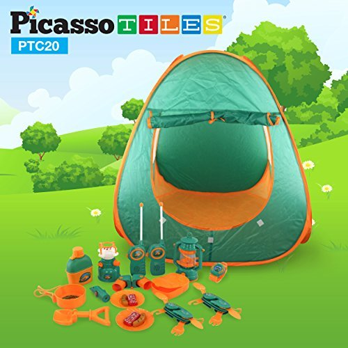 PicassoTiles PTC20 20 Piece Camping Gear Tools Adventure Set including Walkie Talkie, Camping Tent, Binoculars, Watch, Thermometer, Compass & Whistle, Stove, and Other Camp Tools (Tent Camping Toy)