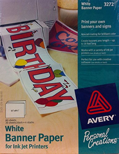 1 X White Banner Paper for InkJet Printers #3272 by Avery - Banner Paper Printers