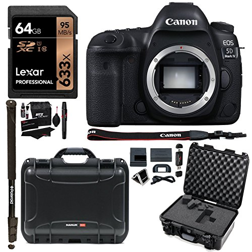 canon eos 5d mark iv full frame digital slr camera body nanuk 915 hard case with cubed foam lexar 64gb polaroid monopod ritz gear cleaning kit