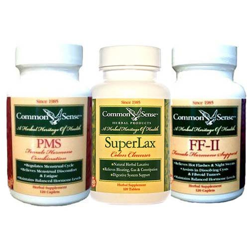 Women's Health: PMS Female Combo (120)/FFII Female Hormone Support (120)/ SuperLax (120) by Common Sense Herbal Products