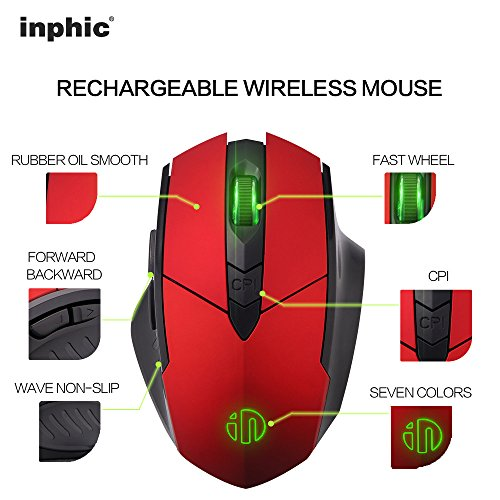 Wireless Mouse, inphic Rechargeable Gaming Mouse with USB Nano Receiver for Notebook, PC, Laptop, Computer, Macbook (Red plating) Photo #4