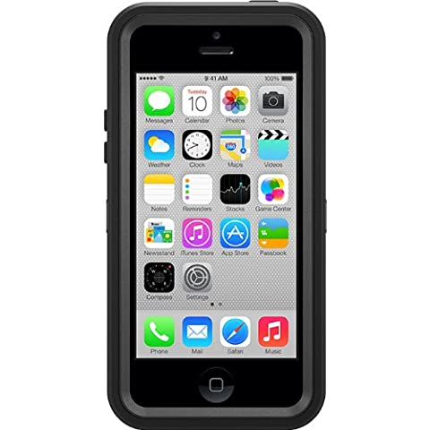 OtterBox Defender Series Case and Holster for iPhone 5c - Retail Packaging - Black (I Phone 5c Cell Phone)